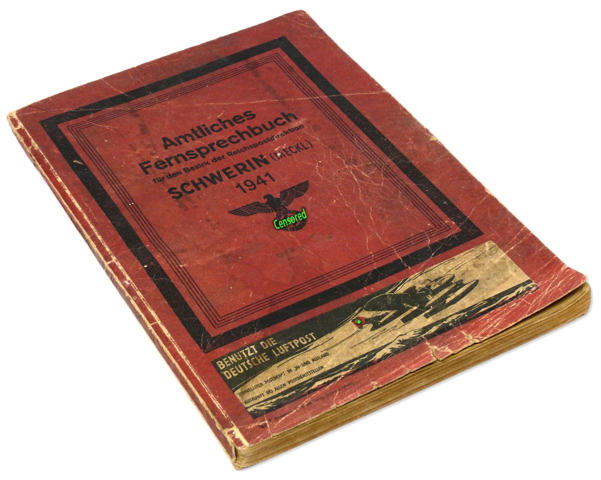 German WW2 Address Phone Book Schwerin 1941 Vintage Wartime Telephone  Directory Telefonbuch Fernsprechbuch in Germany